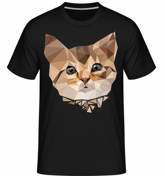Polygon Katze - Shirtinator Männer T-Shirt - Schwarz - Vorn