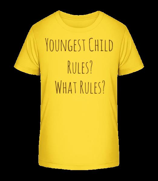 Youngest Child - Kid's Premium Bio T-Shirt - Yellow - Front
