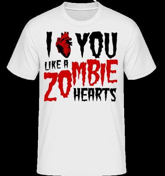 I Like You Like A Zombie Hearts - Shirtinator Männer T-Shirt - Weiß - Vorn