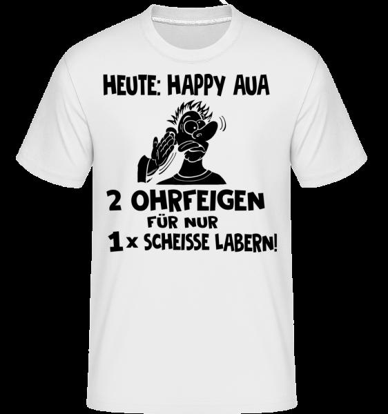 Happy Aua - Shirtinator Männer T-Shirt - Weiß - Vorn