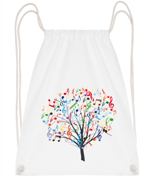 Colorful Music Tree - Drawstring Backpack - White - Vorn