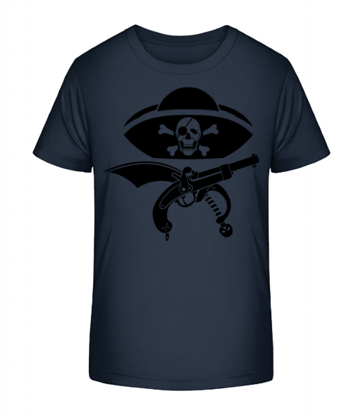 Pirate Symbol Black - Kid's Premium Bio T-Shirt - Navy - Front