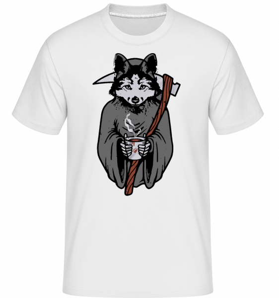 Wolf With Scythe Grey -  Shirtinator Men's T-Shirt - White - Vorn