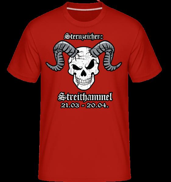 Metal Sternzeichen Strithammel - Shirtinator Männer T-Shirt - Rot - Vorn