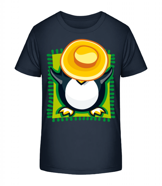 Penguin Sunbath - Kid's Premium Bio T-Shirt - Navy - Front
