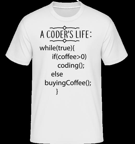 A Coder's Life Coffee - Shirtinator Männer T-Shirt - Weiß - Vorn