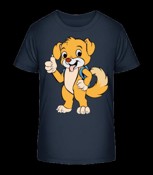 Süßer Hund mit Rucksack - Kinder Premium Bio T-Shirt - Marine - Vorn