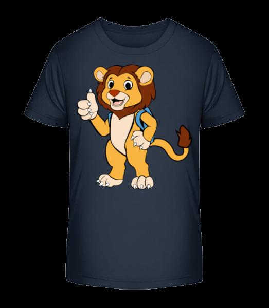 Süßer Löwe mit Rucksack - Kinder Premium Bio T-Shirt - Marine - Vorn