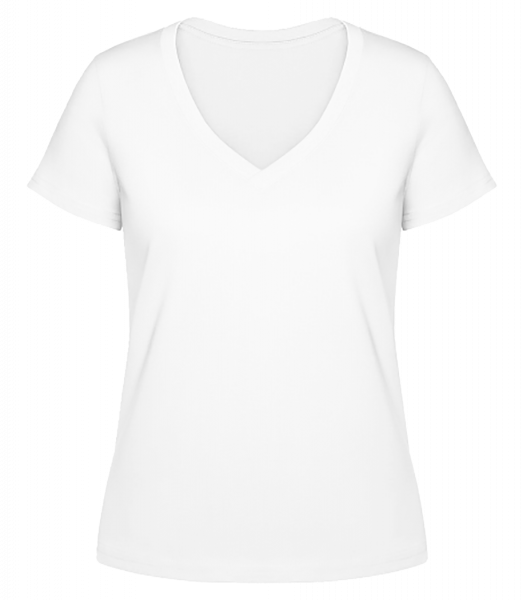 Women's V-Neck Organic T-Shirt - White - Front