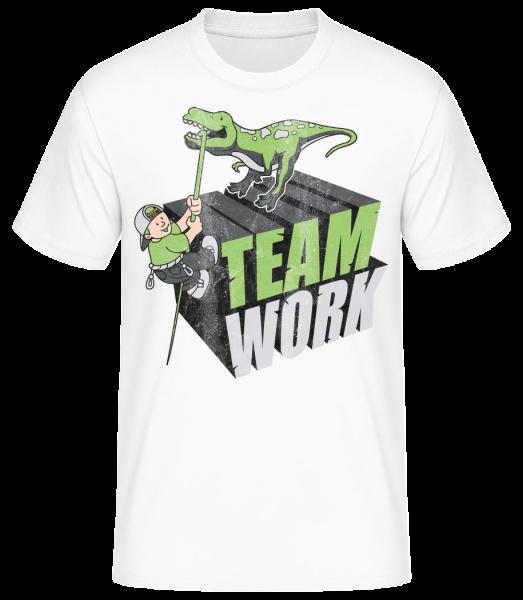 Dinosaur Teamwork - Basic T-Shirt - White - Vorn