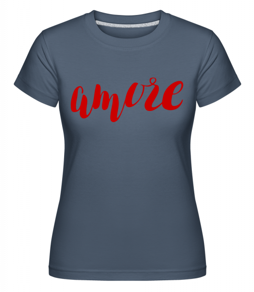 Amore Logo Red - Shirtinator Frauen T-Shirt - Denim - Vorn