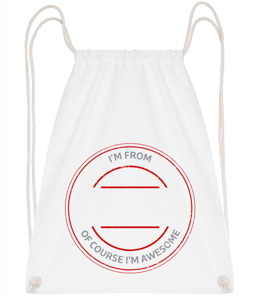 Of Course I'm Awesome - Drawstring Backpack - White - Vorn