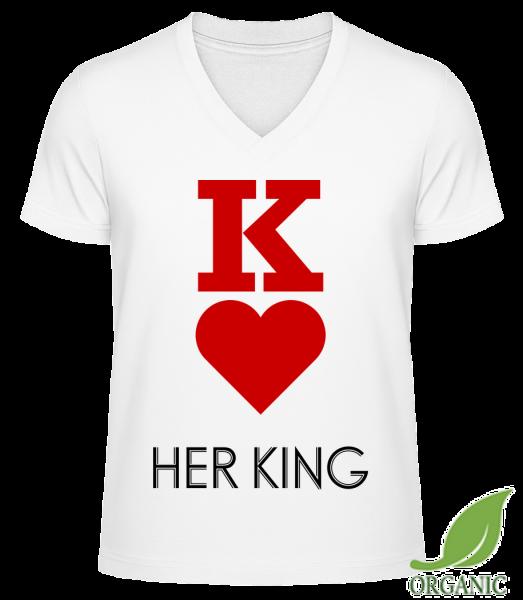 """Her King - """"James"""" Organic V-Neck T-Shirt - White - Vorn"""