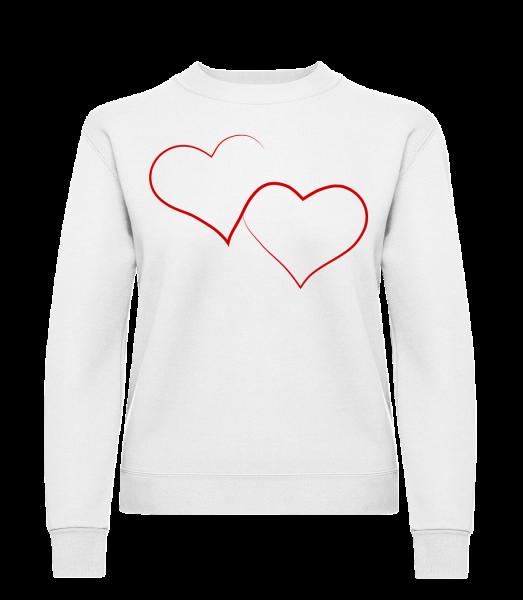 Two Hearts - Classic Ladies' Set-In Sweatshirt - White - Vorn
