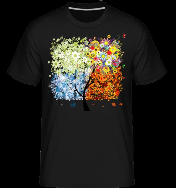 Vier Jahreszeiten Baum - Shirtinator Männer T-Shirt - Schwarz - Vorn
