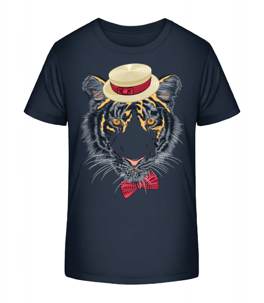 Tiger With Hat - Kid's Premium Bio T-Shirt - Navy - Front