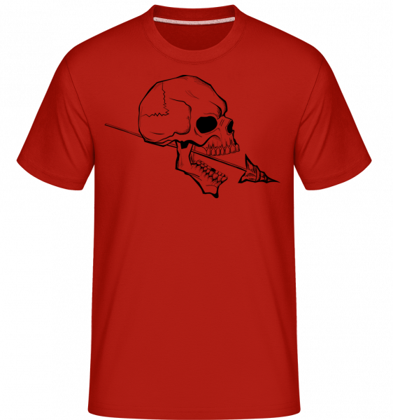 Totenschädel Mit Speer Tattoo - Shirtinator Männer T-Shirt - Rot - Vorn