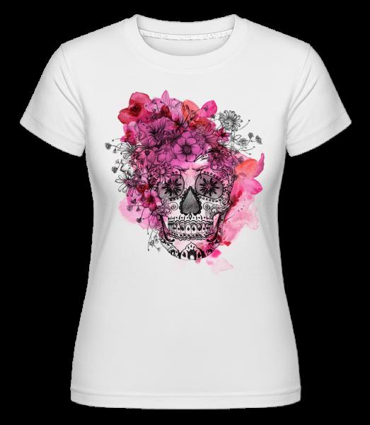 Día de los Muertos Skull - Shirtinator Women's T-Shirt - White - Front