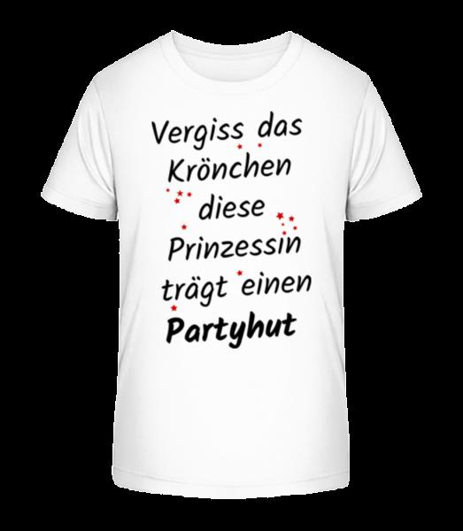 Prinzessin Trägt Partyhut - Kinder Premium Bio T-Shirt - Weiß - Vorn
