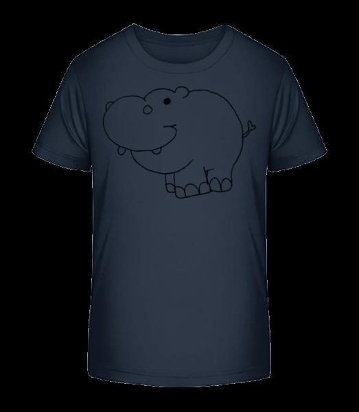 Kids Comic - Hippo - Kid's Premium Bio T-Shirt - Navy - Front