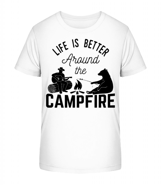 Around The Campfire - Kid's Premium Bio T-Shirt - White - Front