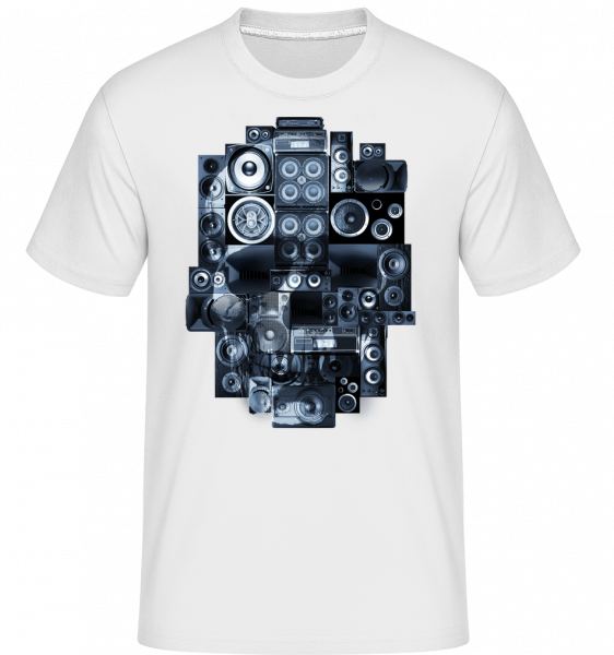 Boombox Skull -  Shirtinator Men's T-Shirt - White - Vorn