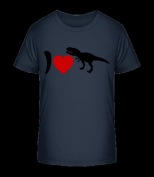 I Love T-Rex - Kinder Premium Bio T-Shirt - Marine - Vorn