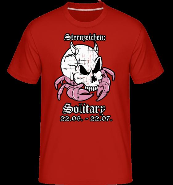 Metal Sternzeichen Solitary - Shirtinator Männer T-Shirt - Rot - Vorn