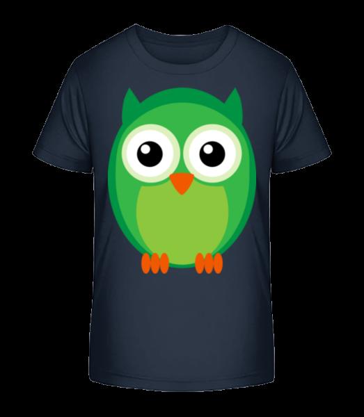 Kids Owl Green - Kid's Premium Bio T-Shirt - Navy - Front