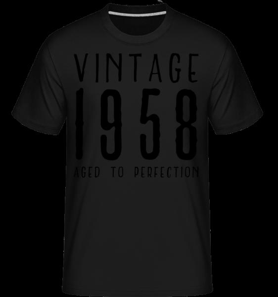 Vintage 1958 Aged To Perfection - Shirtinator Männer T-Shirt - Schwarz - Vorn