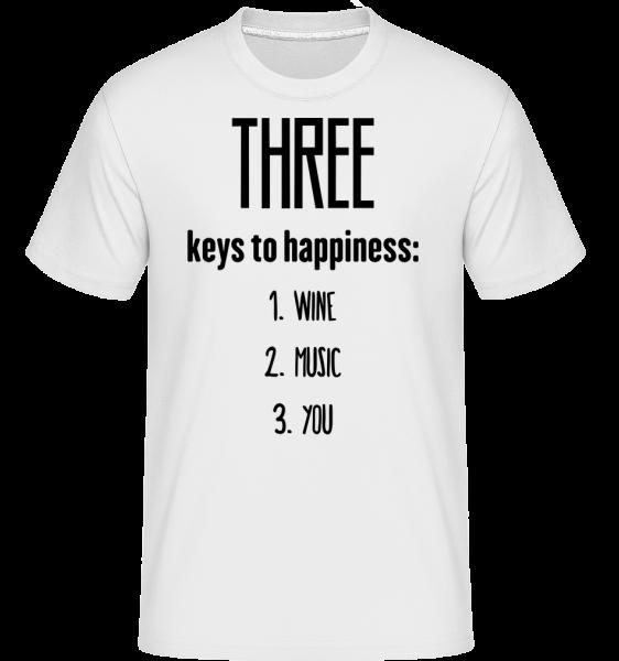 Three Keys To Happiness -  Shirtinator Men's T-Shirt - White - Vorn