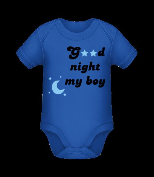 Good Night My Boy - Organic Baby Body - Royal blue - Vorn