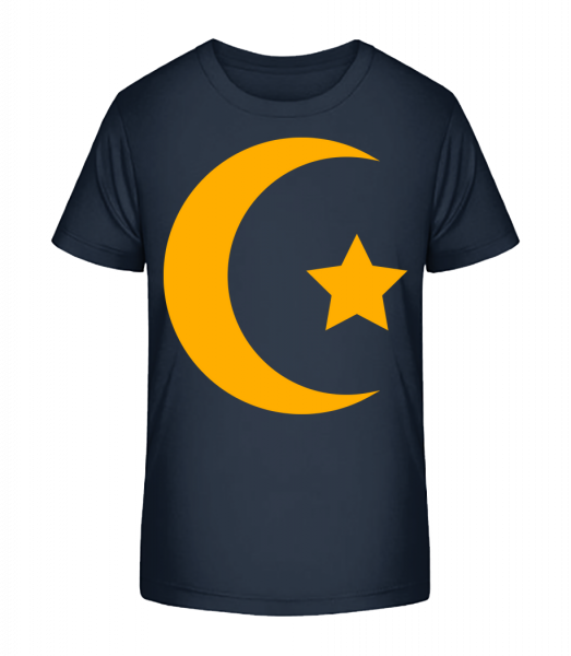 Moon And Star Icon Yellow - Kinder Premium Bio T-Shirt - Marine - Vorn