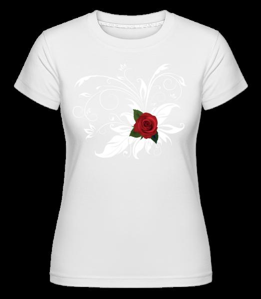Rote Rose - Shirtinator Frauen T-Shirt - Weiß - Vorn