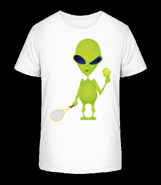 Alien Plays Tennis - Kid's Premium Bio T-Shirt - White - Front