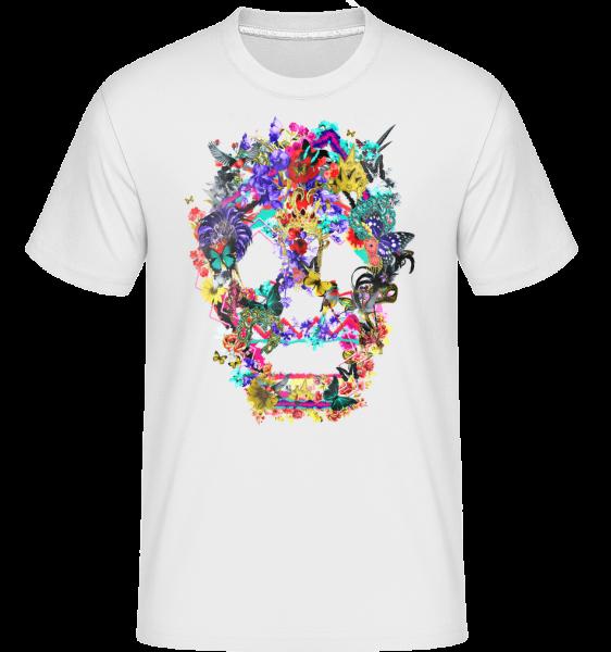 Totenkopf Collage Brasilien - Shirtinator Männer T-Shirt - Weiß - Vorn