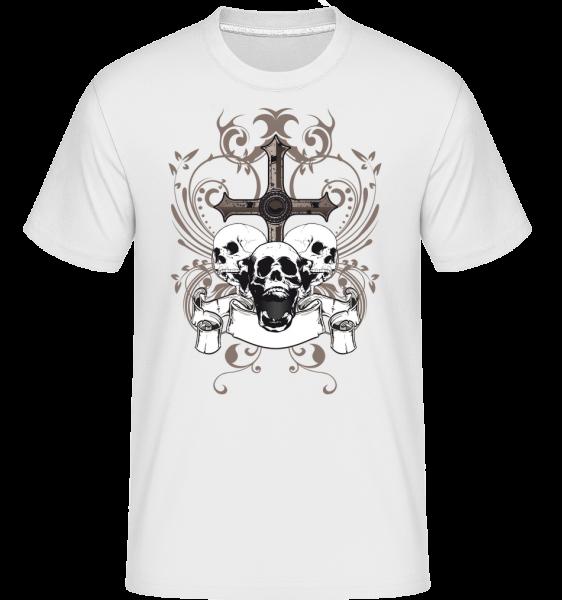 Cross And Skulls - Shirtinator Männer T-Shirt - Weiß - Vorn