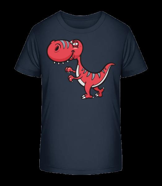 Lustiger Comic Dinosaurier - Kinder Premium Bio T-Shirt - Marine - Vorn
