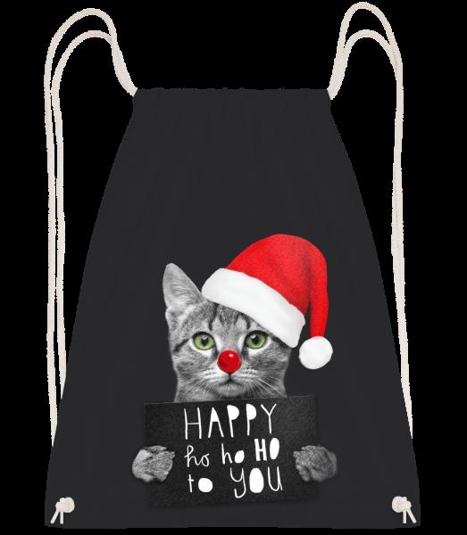 Happy Ho Ho Ho To You - Drawstring Backpack - Black - Vorn