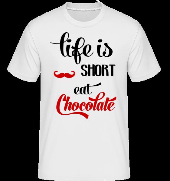Life Is Short, Eat Chocolate -  Shirtinator Men's T-Shirt - White - Vorn