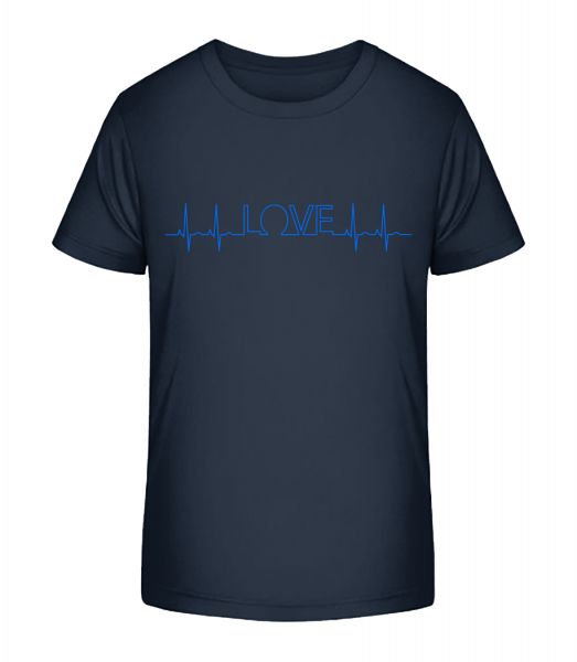 Love Heartbeat - Kinder Premium Bio T-Shirt - Marine - Vorn