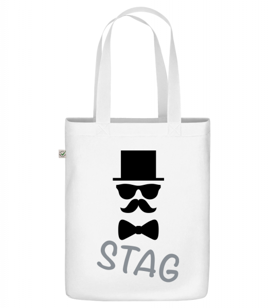 "Stag - Mustache - Organic ""Earth Positive"" tote bag - White - Front"