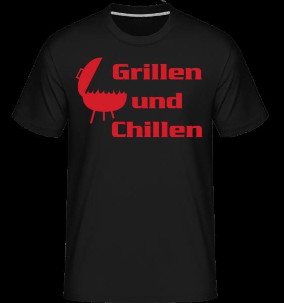 Grillen Und Chillen - Shirtinator Männer T-Shirt - Schwarz - Vorn