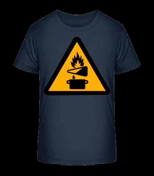 Attention Fire Hazard - Kid's Premium Bio T-Shirt - Navy - Front