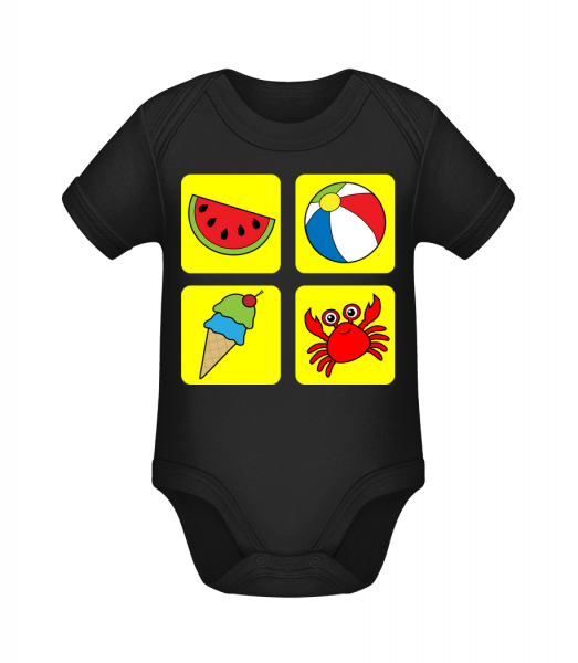 Kid's Summer Colourful - Organic Baby Body - Black - Vorn