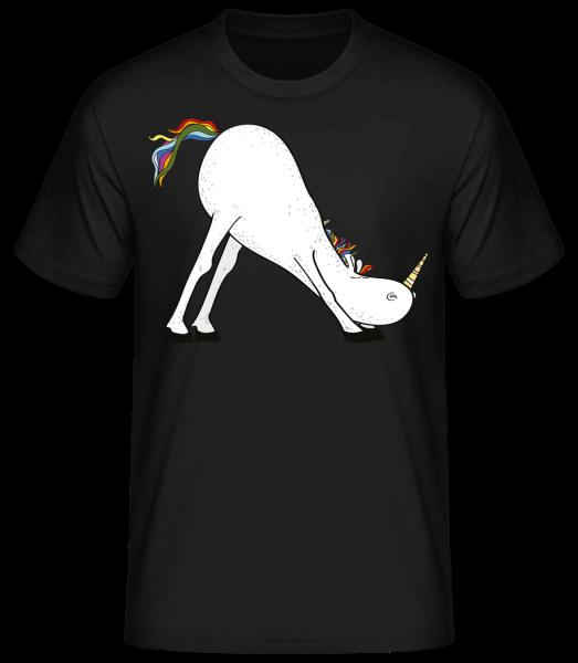 Yoga Einhorn Die Rutsche - Basic T-Shirt - Schwarz - Vorn