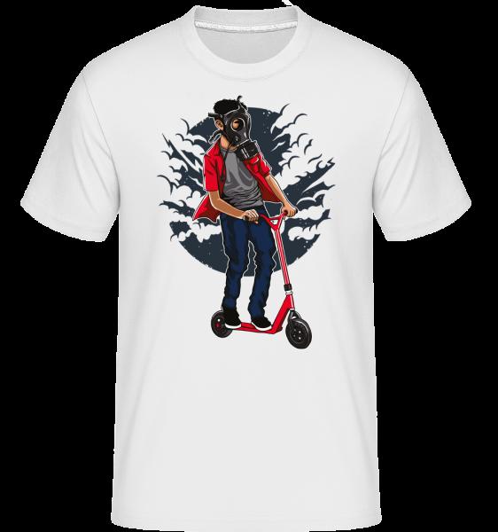 Gasmask Rider -  Shirtinator Men's T-Shirt - White - Front