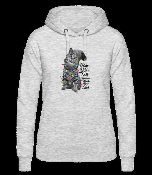 Katze Weihnachten - Frauen Hoodie - Grau meliert - Vorn