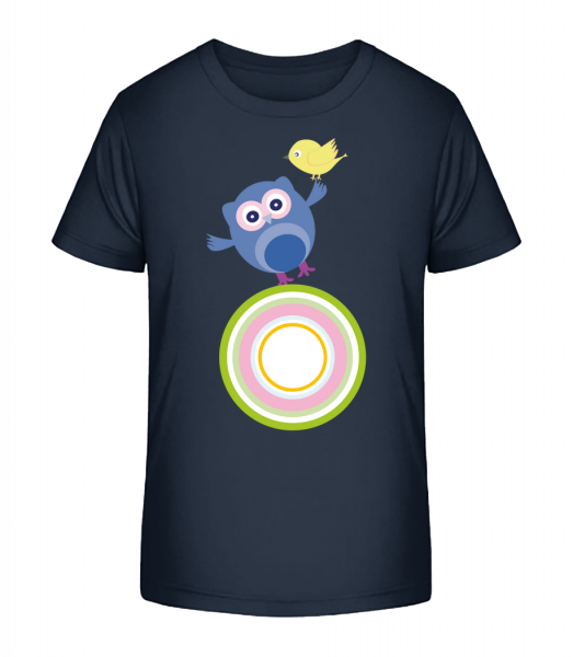 Cute Owl And Bird - Kid's Premium Bio T-Shirt - Navy - Front