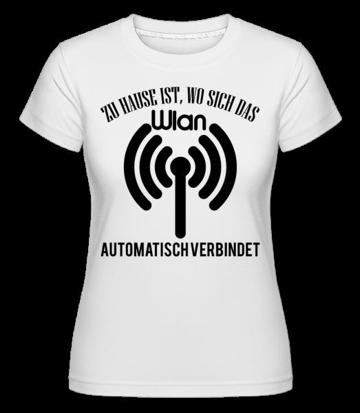 Wo Das Wlan Sich Verbindet - Shirtinator Frauen T-Shirt - Weiß - Vorn